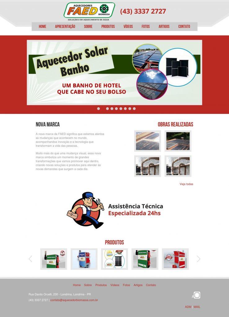 Site Antigo FAED AQUECEDORES